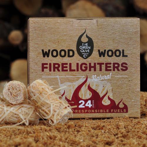 Wood Wool Firelighter 24 piece Box