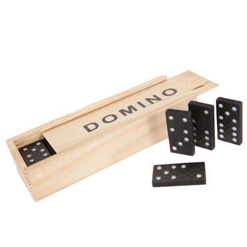 Wooden Box of 28 Dominoes