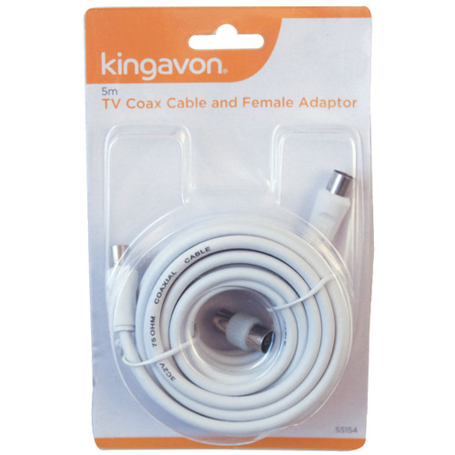 Kingavon 5m TV Coax Cable & Adaptor