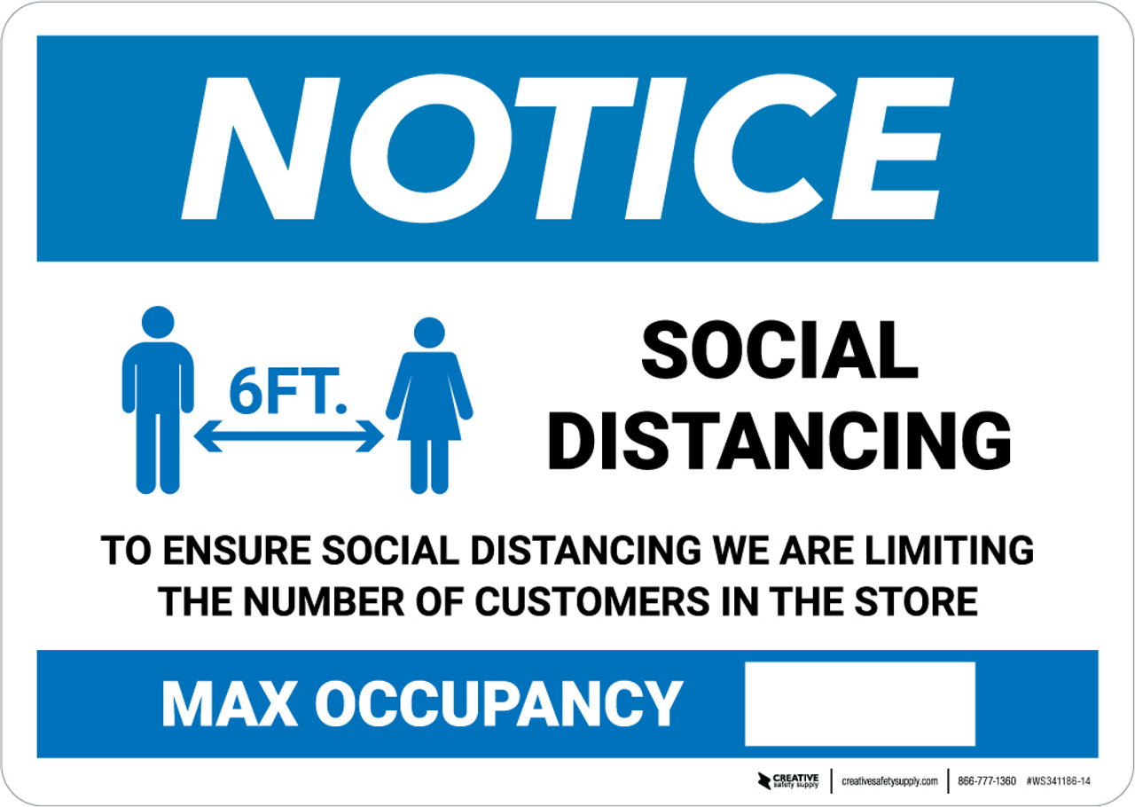 High Quality Social Distancing Store Limit Sticker