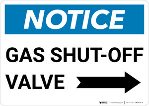 Notice: Gas Shut-Off Valve with Right Arrow Landscape