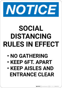 Notice: Social Distancing Rules in Effect Portrait - Wall Sign