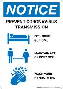 Notice: Prevent Coronavirus Transmission Portrait - Wall Sign