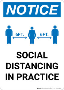 Notice: Social Distancing in Practice with Icons Portrait - Wall Sign