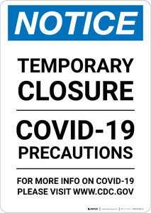 Notice: Temporary Closure - Covid-19 Precautions Portrait - Wall Sign