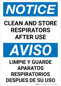 Notice: Clean And Store Respirators After Use Bilingual Portrait - Wall Sign
