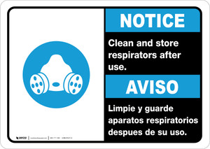 Notice: Clean And Store Respirators After Use Bilingual with Icon ANSI Portrait - Wall Sign