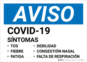 Notice: COVID-19 Symptoms Spanish Landscape - Wall Sign