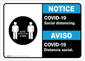 Notice: COVID-19 Social Distancing Bilingual with Icon ANSI Landscape - Wall Sign