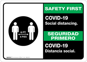 Safety First: COVID-19 Social Distancing Bilingual with Icon Landscape - Wall Sign