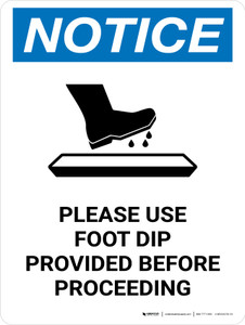 Notice Use Foot Dip Before Proceeding with Icon Portrait - Wall Sign