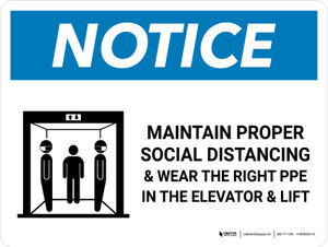 Notice: Social Distancing & PPE In Elevator with Icon Landscape - Wall Sign