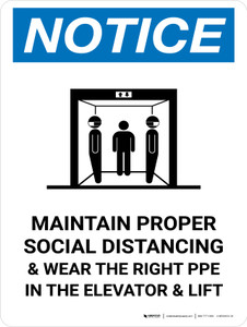 Notice: Social Distancing & PPE In Elevator with Icon Portrait - Wall Sign