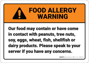 Warning: Speak To Your Server Food Allergy ANSI - Wall Sign