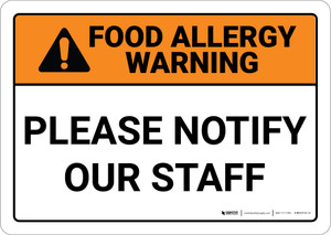 Warning: Food Allergy Please Notify Our Staff - Wall Sign
