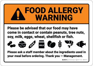 Warning: Food Allergy Warning Be Advised Food May Contain - Wall Sign