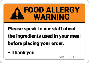 Warning: Speak To Staff About Ingredients Allergy - Wall Sign