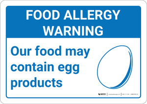 Warning: Food Allergy Warning Food May Contain Egg with Icon Landscape - Wall Sign