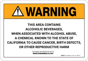 Warning: Prop 65 Alcoholic Beverages when Associated with Alcohol Abuse - Wall Sign