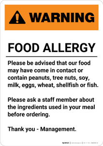 Warning: Food Allergy - Please be Advised - Portrait Wall Sign