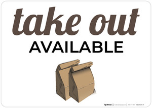 Take Out Available with Image Landscape - Wall Sign