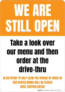 We Are Still Open Order At Drive-Thru Portrait - Wall Sign