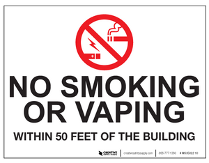 No Smoking/Vaping Within 50 Feet - Wall Sign