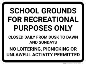 School Grounds Rules Landscape - Wall Sign