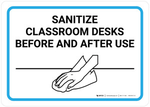 Sanitize Classroom Desks Before And After Use with Icon Landscape - Wall Sign