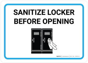 Sanitize Locker Before Opening with Icon Landscape - Wall Sign