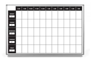 Work Week Dry-Erase Scheduling Whiteboard