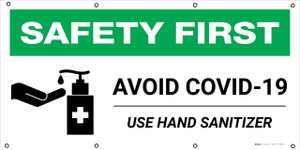 Safety First: Avoid Covid-19 Use Hand Sanitizer with Icon - Banner