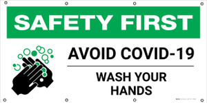 Safety First: Avoid Covid-19 Wash Your Hands with Icon - Banner