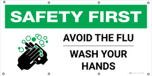 Safety First: Avoid The Flu Wash Your Hands with Icon - Banner