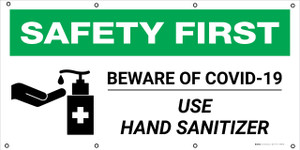 Safety First: Beware Of Covid-19 Use Hand Sanitizer with Icon - Banner