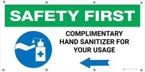Safety First: Complimentary Hand Sanitizer Station Right Arrow with Icon - Banner