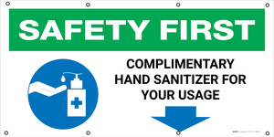 Safety First: Complimentary Hand Station For Your Usage with Icon - Banner
