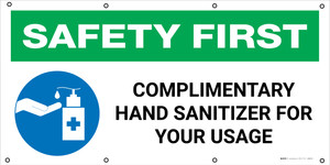 Safety First: Coronavirus Outbreak Please Use Hand Sanitizer with Icon - Banner