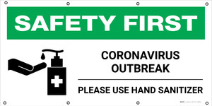 Safety First: COVID-19 High Risk of Infection Use Hand Sanitizer with Icon - Banner