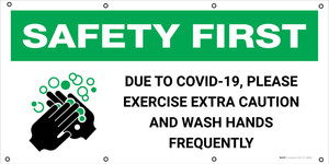Safety First: Due To Covid-19 Please Excercise Extra Caution with Icon - Banner