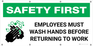 Safety First: Employees Must Wash Hands with Icon - Banner