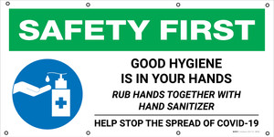 Safety First: Good Hygiene Is In Your Hands with Icon - Banner