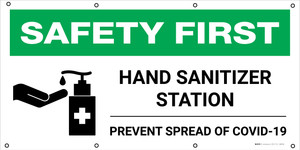 Safety First: Hand Sanitizer Station Prevent Spread of COVID-19 with Icon - Banner