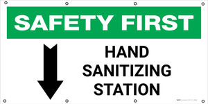 Safety First: Hand Sanitizing Station Below with Arrow - Banner