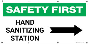 Safety First: Hand Sanitizing Station Right with Arrow - Banner