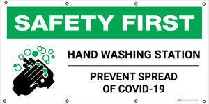Safety First: Hand Washing Station Prevent Spread of COVID-19 with Icon - Banner
