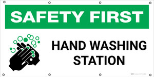 Safety First: Hand Washing Station with Icon - Banner