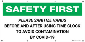 Safety First: Please Sanitize Hands When Using Time Clock COVID-19 - Banner