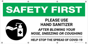 Safety First: Please Use Hand Sanitizer After Blowing Your Nose with Icon - Banner