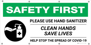 Safety First: Please Use Hand Sanitizer Clean Hands Save Lives with Icon - Banner